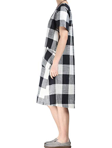 Women's Linen Shirt Dresses Summer Casual Short Sleeve Plaid Tunic Midi Dress 4