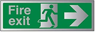 VSafety Fire Exit-Fire Exit Arrow Right Sign - 450mm x 150mm - 3mm Brushed Alu Comp