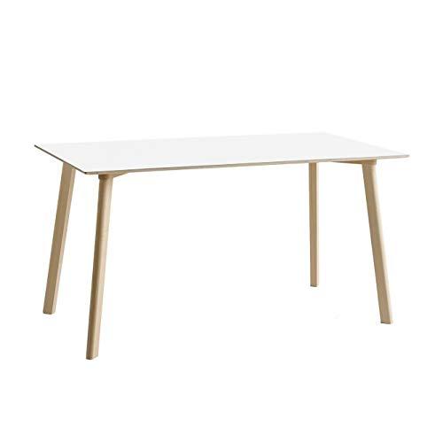 HAY Copenhague Deux CPH210 Tisch 140x75cm, perlweiß Laminat Gestell Buche unbehandelt LxBxH 140x75x73cm