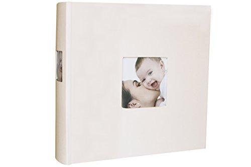 Babuqee 340630 Baby Photo Album, Fotoalbum mit Einsteckfenster für Coverfotos, beige