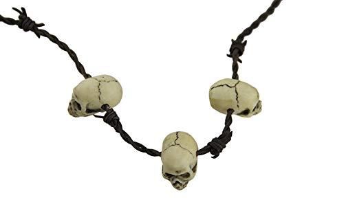 Collar con colgante de calavera de plstico con cabeza de bruja y accesorios de Halloween