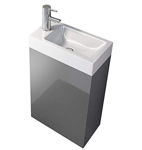 SAM Waschplatz Vega, Kleiner Waschtisch 40 x 22 cm, Grau Hochglanz, Tür mit Push-Open-Funktion, Kunststoffbecken