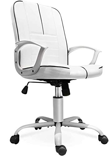 Office Chair Leather, Mid Back Home Office Chair Bonded Leather Computer Swivel Task Desk Chair - White