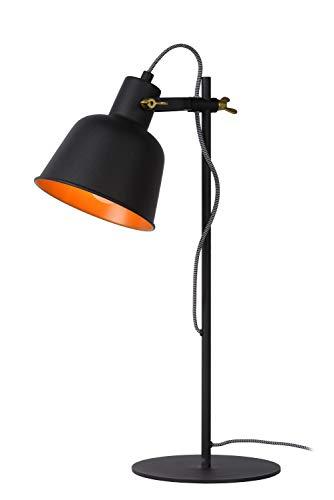 Lucide PIA tafellamp, staal, 60 W, zwart, mat goud