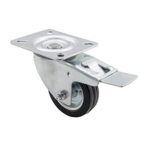 Lenkollen 125mm von Globex24 | Transportrollen mit Bremse | Tragkraft 100kg | Rollen für Möbe Möbelrollen...