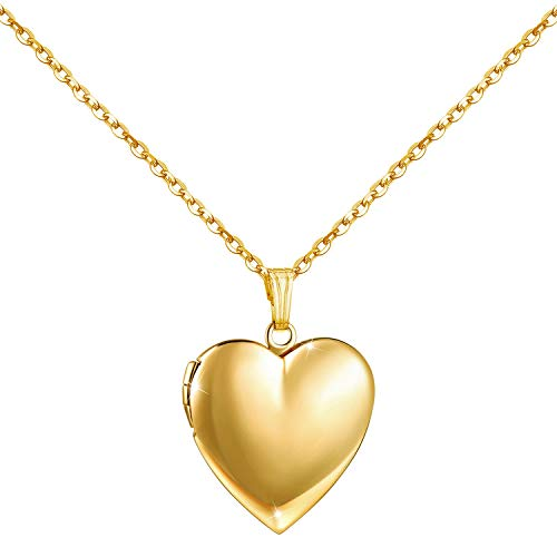 YOUFENG Love Heart Locket Necklace That Holds Pictures Polished Lockets Necklaces Birthday Gifts for Girls Boys (Heart Gold Locket)