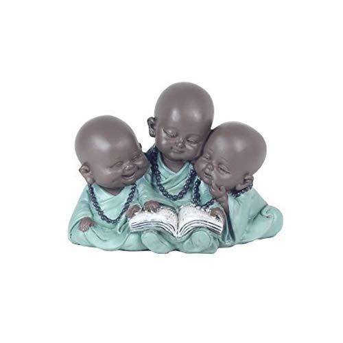 CAPRILO Figura Budista Decorativa de Resina 3 Niños Buda Leyendo Adornos y...