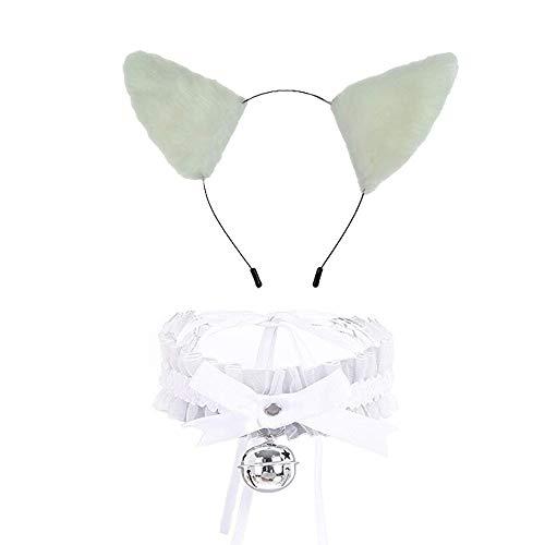 Pavian Fashion - Gargantilla de pelo largo con diseño de orejas de gato y collar de encaje, color blanco