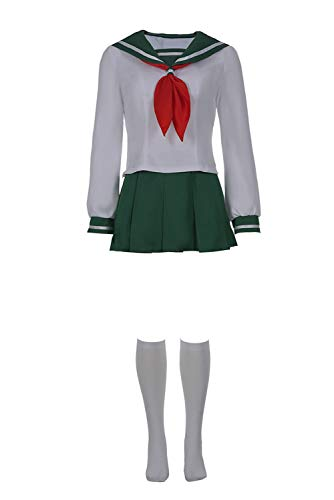 Higurashi Kagome Cosplay Costume Anime Adult Women Female Sailor Suit Sailor Shirt with Short Dress Skirt,L