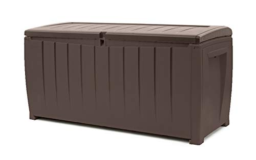 KETER Novel 90 Gallon Resin Deck Box-Organization and Storage for Patio Furniture Outdoor Cushions, Throw Pillows, Garden Tools and Pool Toys, Brown/Brown