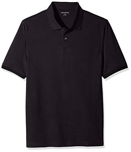 Amazon Essentials Regular-Fit Cotton Pique Polo Shirt, Negro, L