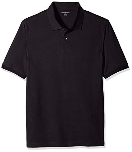 Amazon Essentials Men's Regular-Fit Cotton Pique Polo Shirt, Black, X-Large