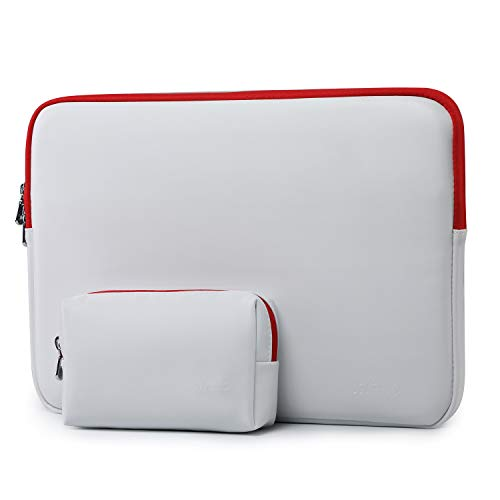 HYZUO 13-13.5 Inch Laptop Sleeve Lambskin Case Compatible with MacBook Air 13/MacBook Pro 13/iPad Pro 12.9/13.5 Inch Surface Laptop/Surface Book/Dell Inspiron 13/HP ENVY 13/Asus Zenbook 13, White-Red