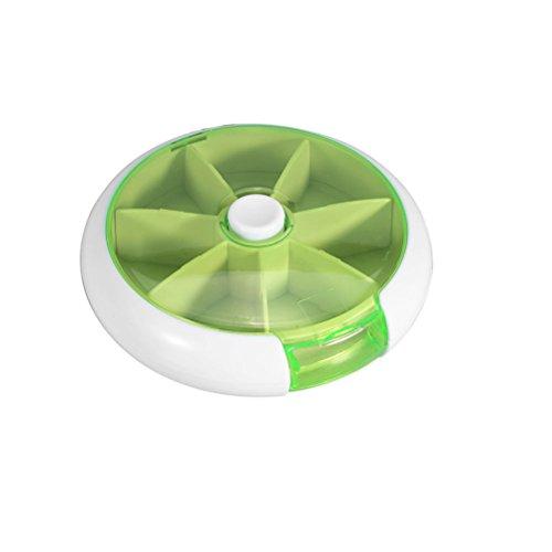Contenitore pillole ROSENICE Porta Pillole 7 scomparti settimanali tascabile (Verde)
