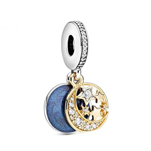 ZHANGCHEN Dije de Plata de Ley 925, Colgante de Perla Brillante, Luna y Estrella, Adecuado para Pulseras de Moda para Mujeres, Regalo, joyería de Bricolaje