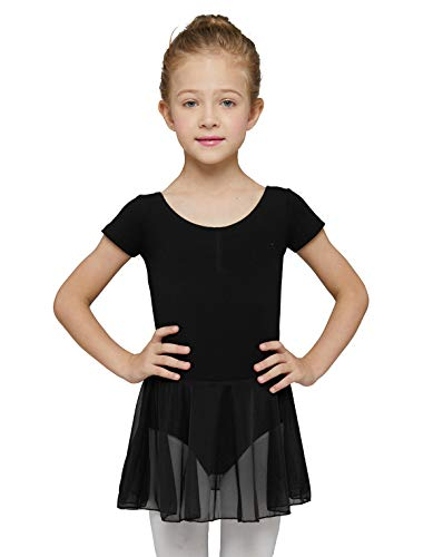 MdnMd Toddler Girls Dance Ballet Leotard with Tutu Skirt Outfit Dress (Black, Age 4-6 / 4t,5t)