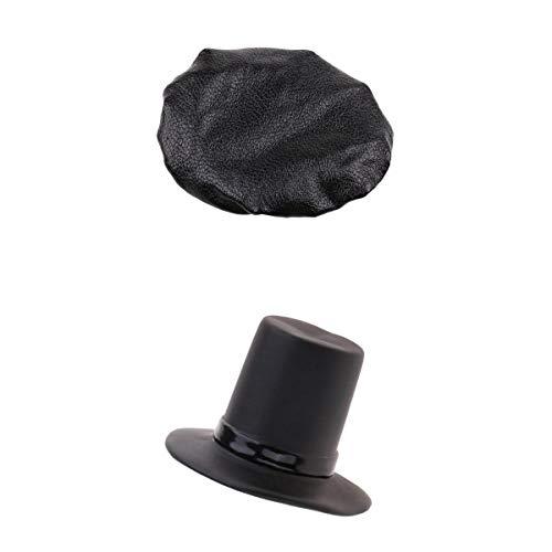 Injoyo 2 verpakkingen 1/6 hoed, hoge vorm en baret voor 30,5 cm (12 inch), voor bedrijfskleding, om te knutselen