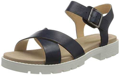 Clarks Orinoco Strap, Sandali con Cinturino alla Caviglia Donna, Blu (Navy Leather Navy Leather), 38 EU