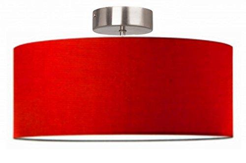 Lampadario moderno cilindro a sospensione montatura in metallo (cm 50 rosso c/tappo)