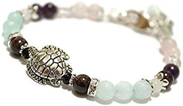 Fertile Turtle Fertility and Pregnancy Bracelet Featuring Natural Gemstones Rose Quartz, Amethyst, Rock Crystal,Garnet, Black Onyx, Moonstone, Amazonite