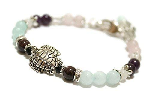 Fertile Turtle Fertility and Pregnancy Bracelet/Natural Gemstones Rose Quartz, Moonstone, Amethyst, Rock Crystal, Garnet, Black Onyx/Holistic Healing Jewelry/Anti Anxiety/Stress Relief