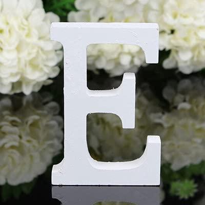 TIANSHU Letras de Madera Decorativas, 26 Letras Letra de Pared del Alfabeto de Madera para niños Nombre de bebé Niñas Fiesta de cumpleaños, Letras de Amor de Madera para Bricolaje (Letra: E)