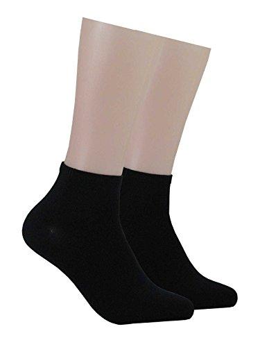 GROJADORI 6 Paar Bambus Kurz - Socken mit Komfortb& Damen Herren, Schwarz 39-42
