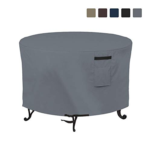 Fire Pit Outdoor Covers Waterproof, 100% UV Resistant, 12Oz PVC Heavy Duty Fabric with Air Pockets and Drawstring for Snug fit to Withstand Winds & Storms. (48 X 18 inch, Grey)