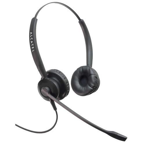 Alcatel TH125 Binaural Kopfband Schwarz Headset - Headsets (Call Center/Büro, 1,5-5 V, Binaural, Kopfband, Schwarz, CE)