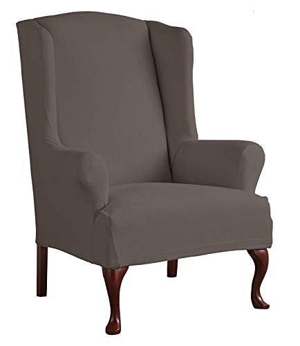Perfect Fit Serta 1 Piece Reversible Stretch Suede T Wingback Chair Slipcover, Graphite/Gray
