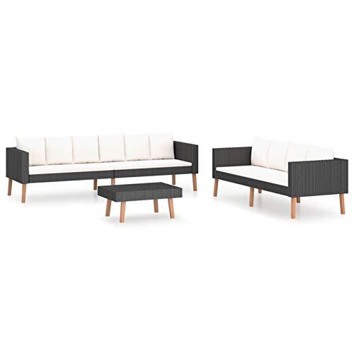 Tidyard Conjuntos Sofa Exterior Set de Muebles de jardín 3 pzas y Cojines ratán sintético Negro