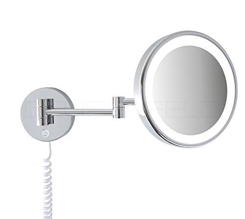 DEUSENFELD WL70CT - Premium LED Kosmetikspiegel, CTT - stufenlos Einstellbarer Farbton von 2700-6500K, LED Touch-Control, 7X Vergrößerung, Ø20cm, verdeckte Befestigung, verchromt