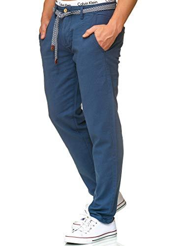 Indicode Herren Haverfield Stoffhose aus 55% Leinen & 45% Baumwolle m. 4 Taschen inkl. Gürtel | Lange sportliche Regular Fit Hose Baumwollhose Leinenhose Freizeithose f. Männer Dk Denim L