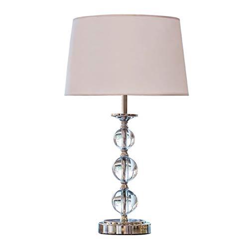 Lámparas de Mesa Lampara mesita noche Lámpara de mesa de 22 pulgadas de bola de cristal de 22 pulgadas transparente con sombra de tela blanca para dormitorio, sala de estar, sala de estudio, oficina M