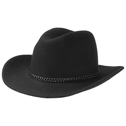 Lipodo Sombrero de Cowboy Negro Hombres y Mujeres - Sombrero del Oeste de 100% Fieltro de Lana - Sombrero de Rodeo con Banda de Piel - Sombrero de Fieltro -tamaño M 56-57 cm - Verano/Invierno