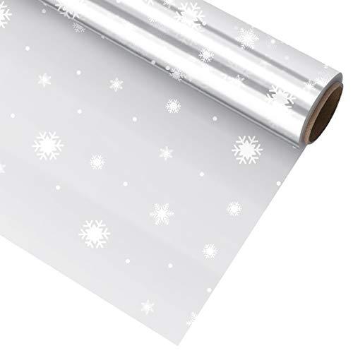 STOBOK Weihnachtspapier Papier Schneeflocke Zellophan Wickelrolle 2. 5 Mil Dicke 3000X40cm für Weihnachten Geschenkverpackung Blumen Verpackung Partybevorzugung