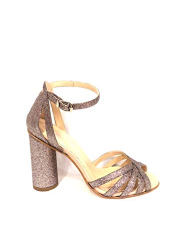 WO MILANO T800 - Sandalo Donna Pelle Glitter Argento e Tacco 10 cm (36 - Glitter Argento+Nappa PHARD)