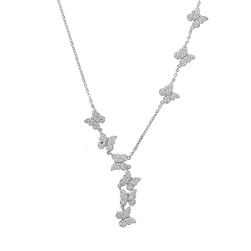 YHHZW Collar Lindo Encantador Encanto Micro Pave Mariposa Colgante Color Oro Moda Mujer Niña Elegancia Dulce Joyería Collares-Platinum_Plated