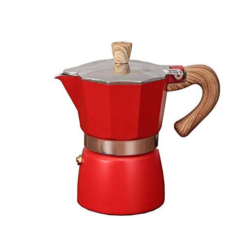 FDT112. Anis-Kaffeekanne Italienischer Moka-Topf-Kaffee-Topf-Set europäischer Kaffeekanne (Color : Red, Size : 3-Cup)