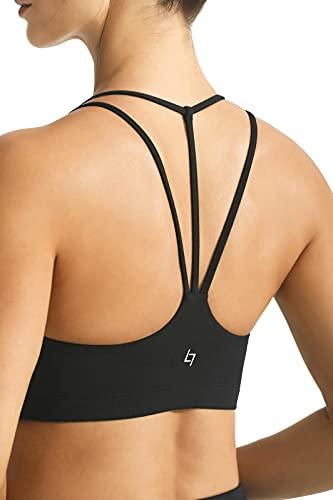 FITTIN Women's Strappy Padded Sports Bra for Women Racer Back Spaghetti Straps Yoga Bra Tops Black Medium