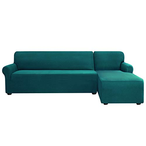subrtex Stretch Sofa Cover L Shape Spandex Jacquard Fabric Sectional Sofa Slipcovers, Anti-Slip Furniture Protector (Right Chaise, Teal)