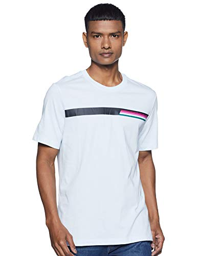 Nike Men's Printed Regular fit T-Shirt (AO1141-442_Half Blue/Black Large)