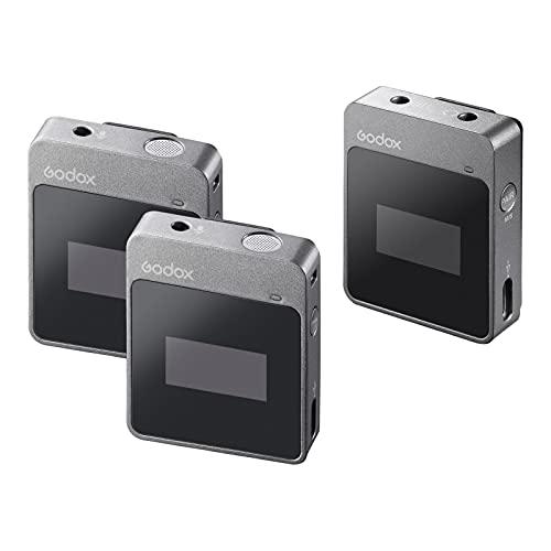 Godox M2 2.4G Sistema de Micrófono Inalámbrico Compacto(2 transmisores + 1 Receptor)...