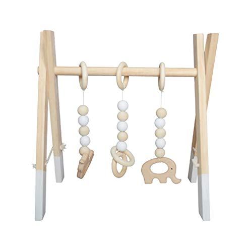 Hezhu Juguete de madera para el gimnasio del bebé, para la habitación del bebé, decoración de figuras, altura regulable (blanco)