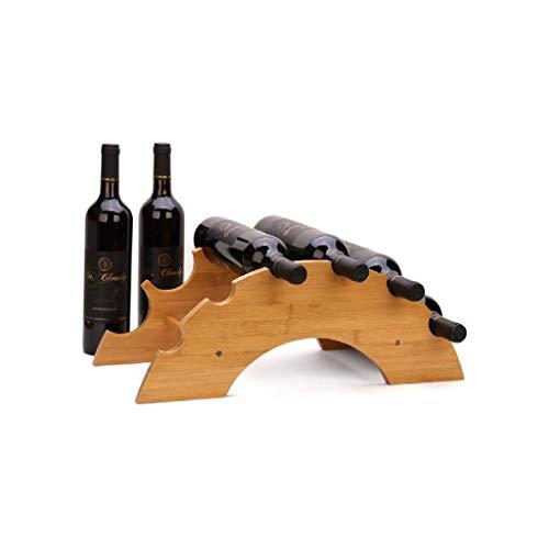 NXYJD Vino Rack Madera de 6 Botellas de Vino en Rack, encimera almacenaje del Vino del Estante, Puente Tipo de Vino Bastidores, Multi-Estante de la Botella de Vino