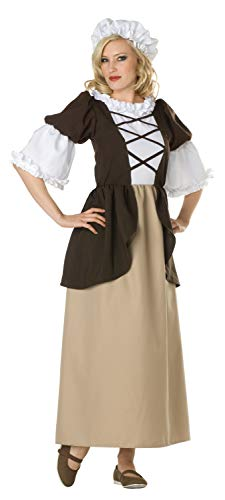 RG Costumes Women's Colonial Peasant Lady, Brown/Tan, 8-10/Large