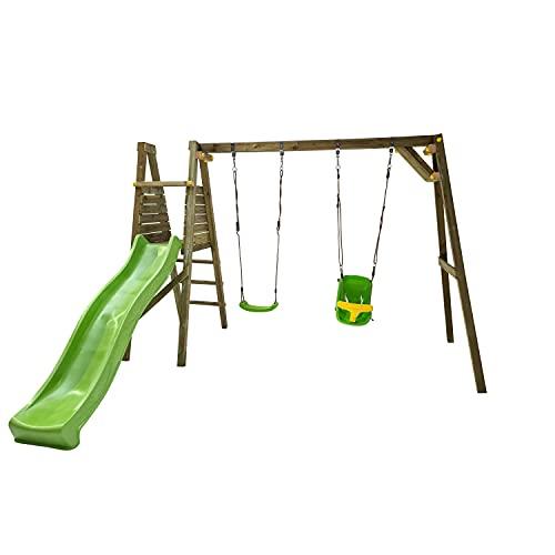 MASGAMES | Parque Infantil Lignum L | Tobogán con Conector a Manguera | Madera tratada | Anclajes...