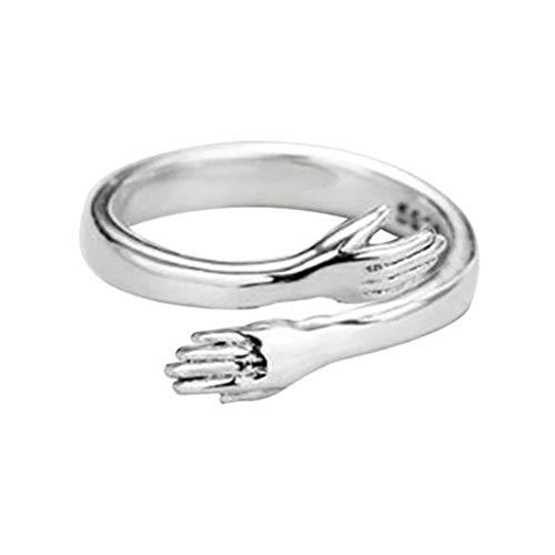 NNGT - Anillo ajustable de plata de ley 925 con manos que abrazan, anillo...