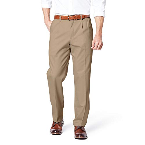 Dockers Men's Classic Fit Easy Khaki Pants - Pleated D3, Timber Wolf (Stretch), 36 32