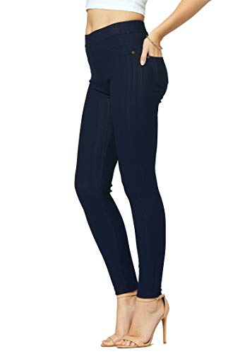 Premium Stretch Soft High Waisted Jeggings for Women - Denim Leggings - Cotton Stretch Blend - Full Length Indigo Blue - US 18-24